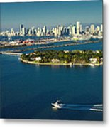 Miami City Biscayne Bay Skyline Metal Print