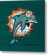 Miami Dolphins Football Team Retro Logo Florida License Plate Art Metal Print