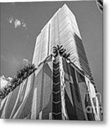Miami Downtown Buildings - Miami - Florida - Black And White Metal Print by Ian Monk