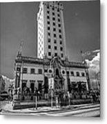 Miami Freedom Tower 4 - Miami - Florida - Black And White Metal Print