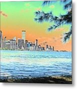 Miami Skyline Abstract II Metal Print