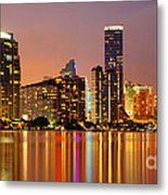 Miami Skyline At Dusk Metal Print