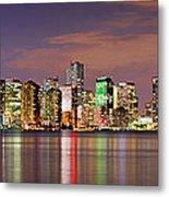 Miami Skyline At Dusk Sunset Panorama Metal Print