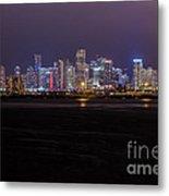 Miami Skyline Bay View Metal Print
