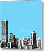 Miami Skyline - Sky Blue Metal Print