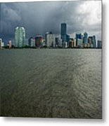 Miami Skyline Storm Metal Print