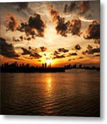 Miami Skyline Sunset Metal Print