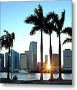 Miami Skyline Viewed Over Marina Metal Print