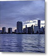 Miami Skyline Waves Metal Print