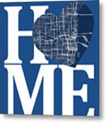 Miami Street Map Home Heart - Miami Florida Road Map In A Heart Metal Print
