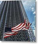 Miami's Financial Center And Old Glory Metal Print by Rene Triay Photography