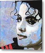 Michael Jackson Blue And White Metal Print