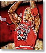 Michael Jordan Oil Painting Metal Print
