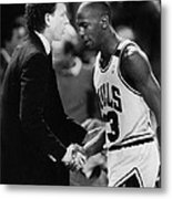 Michael Jordan Talks With Coach Metal Print