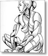 Michaela 24-3 - Abstract Nude Figurative Pen And Ink Drawing Metal Print