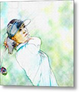 Michelle Wie Hits Her Tee Shot On The Sixth Hole Metal Print