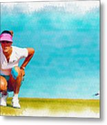 Michelle Wie Lines Up A Putt On The Eighth Green Metal Print
