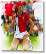 Michelle Wie Of The Usa Solhiem Cup Reacts After Missing A Putt Metal Print