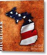 Michigan Amercian Flag State Map Metal Print