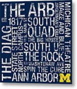 Michigan College Colors Subway Art Metal Print by Replay Photos