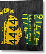 Michigan Love Recycled Vintage License Plate Art State Shape Lettering Phrase Metal Print by Design Turnpike