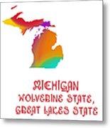 Michigan State Map Collection 2 Metal Print
