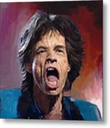 Mick Jagger Painting Metal Print by Robert Wheater