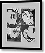 Mickey In Black And White Metal Print