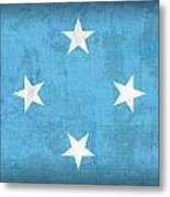 Micronesia Flag Vintage Distressed Finish Metal Print