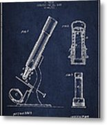 Microscope Patent Drawing From 1865 - Navy Blue Metal Print
