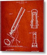 Microscope Patent Drawing From 1865 - Red Metal Print