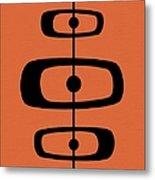Mid Century Shapes 2 On Orange Metal Print