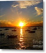 Mid Summer Sunset Over The Island Metal Print