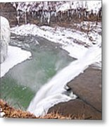 Middle Falls And Ice Feathers Metal Print