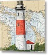 Middle Island Lighthouse Mi Cathy Peek Nautical Chart Art Metal Print