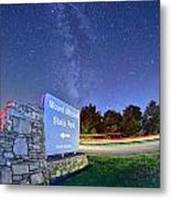 Midnight At Mount Mitchell Entrance Sign Metal Print