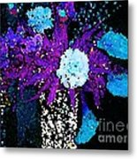 Midnight Callas And Orchids Abstract Metal Print