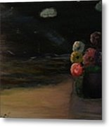 Midnight Flowers On The Beach Metal Print