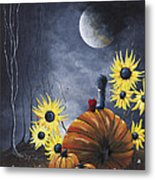 Midnight In The Pumpkin Patch By Shawna Erback Metal Print