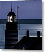 Midnight Moonlight On West Quoddy Head Lighthouse Metal Print
