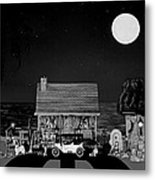 Midnight Near The Sea In Black And White Metal Print