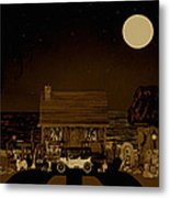 Midnight Near The Sea In Sepia Color Metal Print