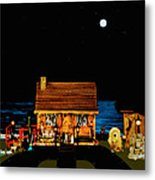 Log Cabin Scene Near The Ocean At Midnight Metal Print by Leslie Crotty