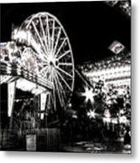 Midway Attractions In Black And White Metal Print