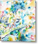 Mike Bloomfield Playing The Guitar - Watercolor Portrait Metal Print