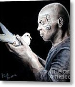 Mike Tyson And Pigeon Metal Print