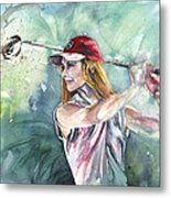 Miki Self Portrait Golfing Metal Print