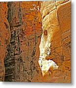 Mile-long Canyon Leads Through 600 Foot Deep Gorge To The Treasury In Petra-jordan Metal Print