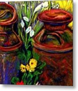Milk Cans At Flower Show Sold Metal Print