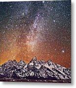 Milky Way Over Grand Teton Metal Print